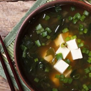 miso soup with wakame fronds
